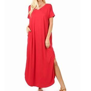 VISCOSE SIDE SLIT V-NECK SHORT SLEEVE MAXI DRESS